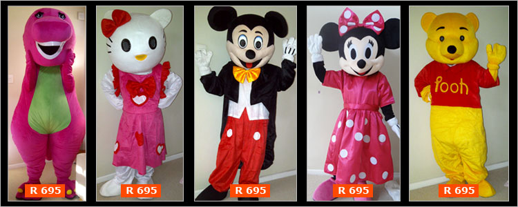 Adult Mascor Costumes Cape Town - BArney, Winnie the pooh, Hello Kitty, Mickey Mouse & Minnie Mouse